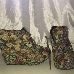 Floral wedge booties